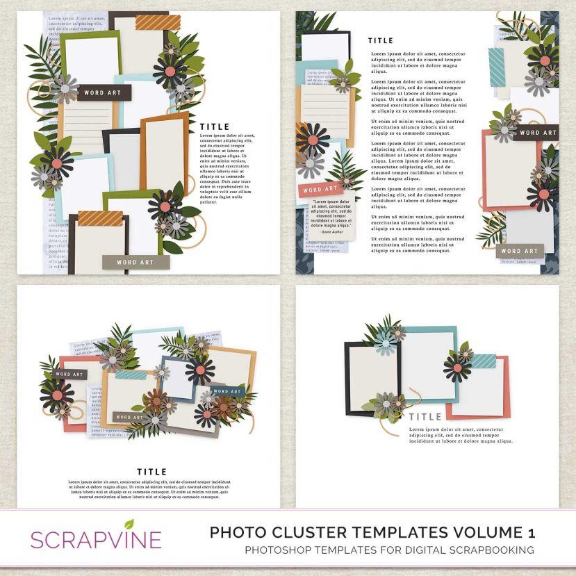 photo cluster scrapbook templates